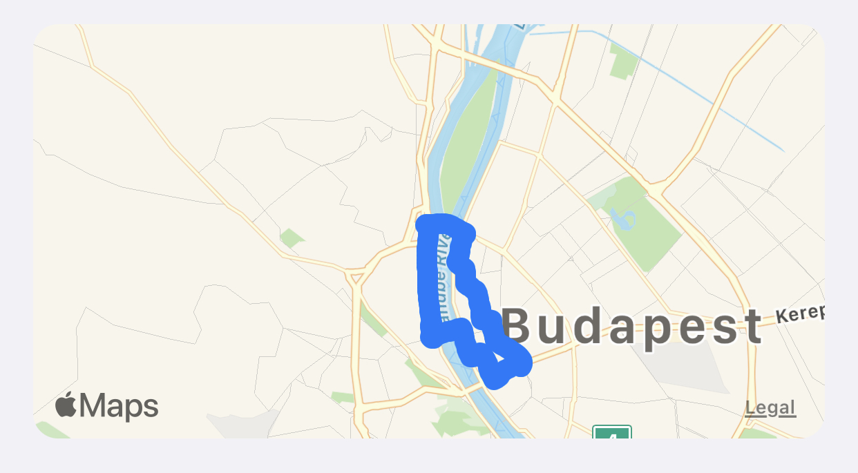 Map of Budapest with a route map of a workout overlaid